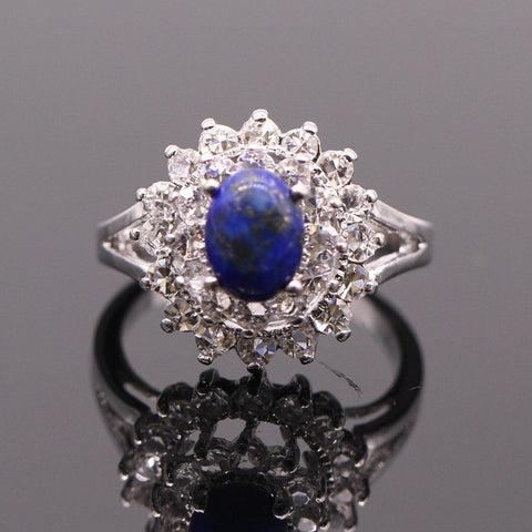 Natural Lapis Lazuli stone white gold plated ring - Stones and Sparkles