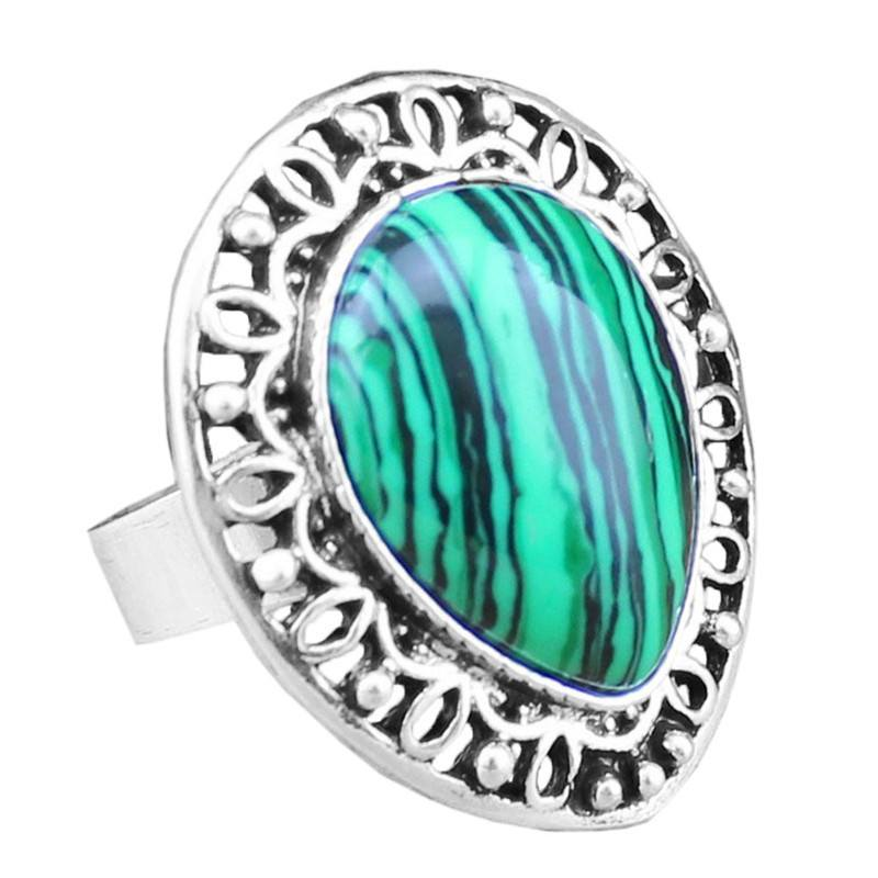 Natural Malachite Stone silver plated ring - Stones and Sparkles