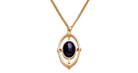 Gold Plated Multilayer Lapis lazuli Stone Pendant Necklace - Stones and Sparkles