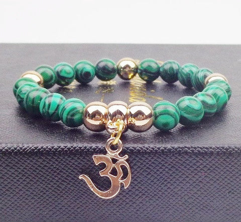 OM Charm Natural Healing Stone Malachite Bracelet - Stones and Sparkles