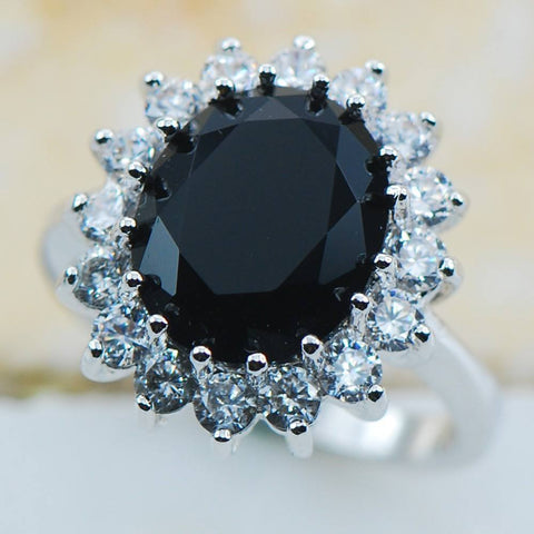 Natural Black Onyx Stone Sterling Silver Ring - Stones and Sparkles