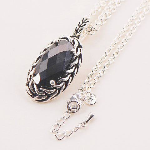 Natural Black Onyx Stone pendant Sterling Silver Necklace - Stones and Sparkles