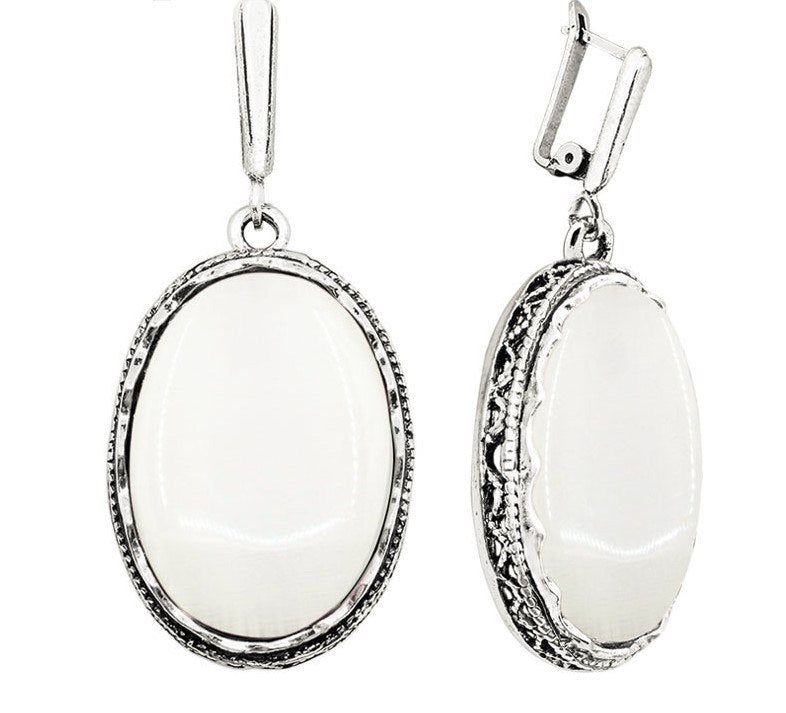 Natural Opal stone antique silver plated earrings - Stones and Sparkles