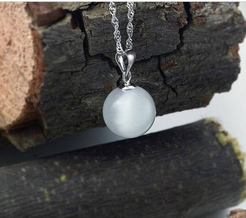 Natural white Opal stone pendant Sterling silver necklace - Stones and Sparkles