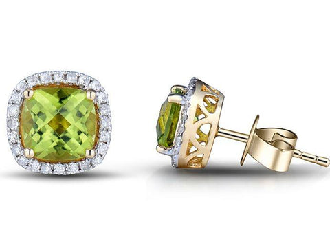 Peridot and diamond stud earrings in 14K gold