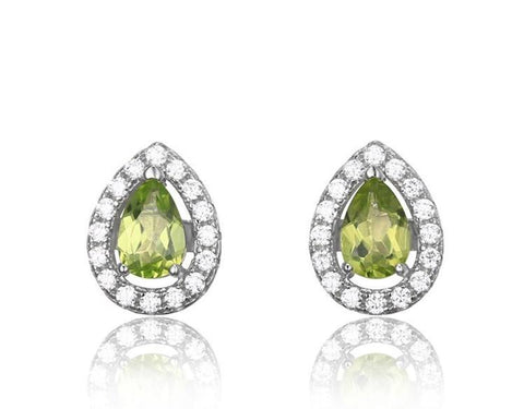 Natural Peridot Stone Sterling Silver Stud Earrings - Stones and Sparkles