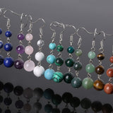 Natural Healing Stone 3 beads  Long Dangler  Earrings - Stones and Sparkles