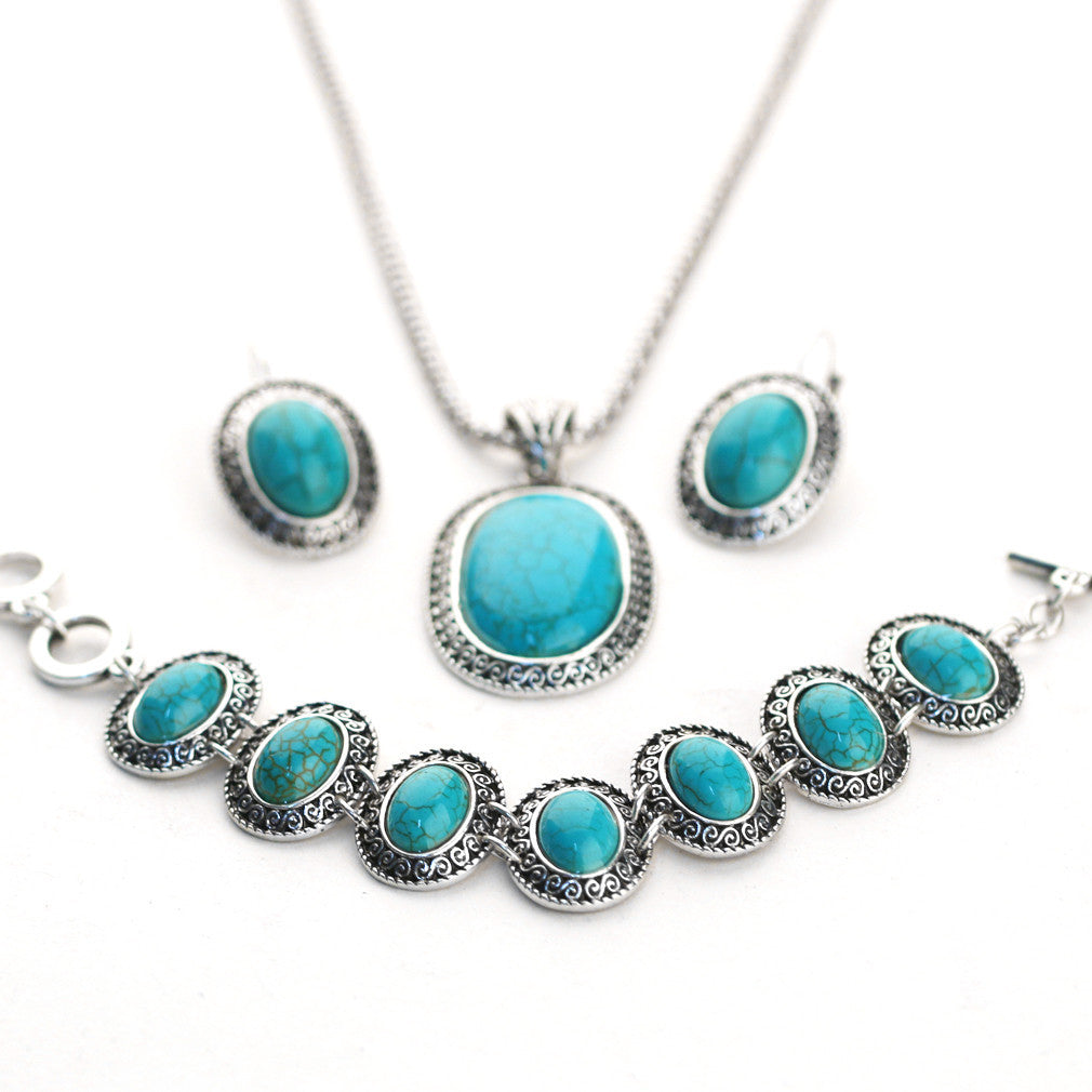 Natural Turquoise Jewelry set - Stones and Sparkles