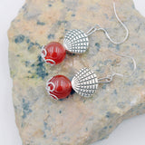 Natural Agate Stone  beads Silver plated Earrings - Stones and Sparkles