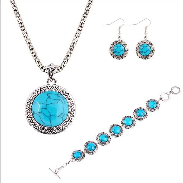 Silver Plated Geometric  Round Turquoise stones Jewelry Set
