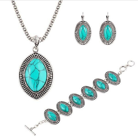 Antique Silver Plated Oval Turquoise Stone Jewelry Set