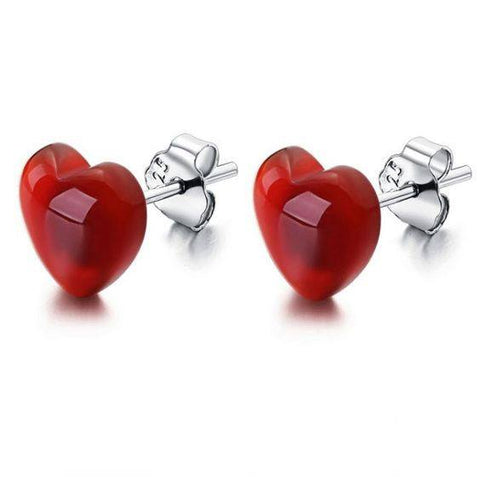 Red Agate Sterling Silver Stud Earrings