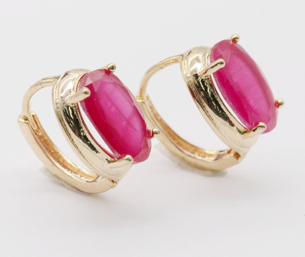 Natural Ruby Stone 18K gold plated earrings - Stones and Sparkles
