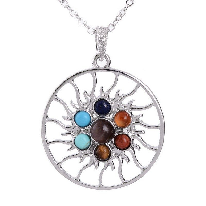 7 chakra SUN pendant long chain necklace - Stones and Sparkles