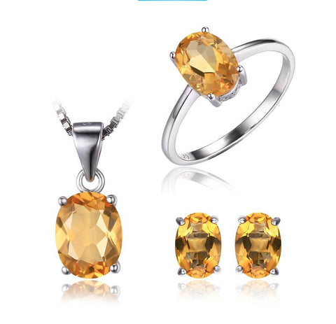 Natural Citrine Stone Sterling Silver Jewelry Set - Stones and Sparkles