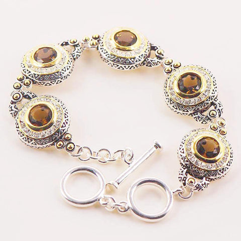 Natural Smoky Quartz stone Sterling Silver Bracelet - Stones and Sparkles