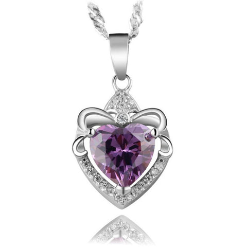 Natural Amethyst stone Sterling Silver pendant Necklace - Stones and Sparkles