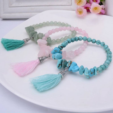 Natural healing stone tassel charm bracelets - Stones and Sparkles