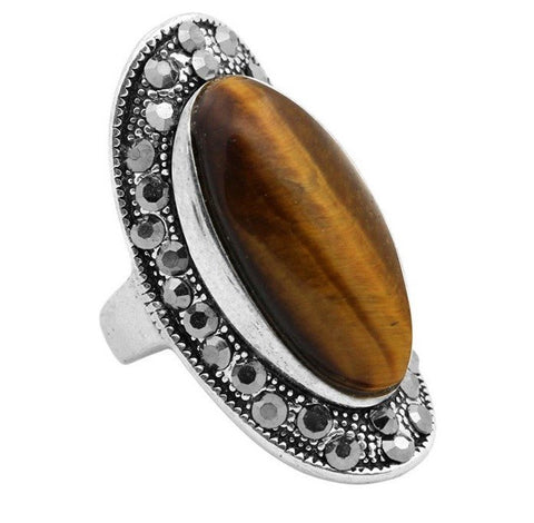 Natural tiger's eye healing stone statement ring - Stones and Sparkles
