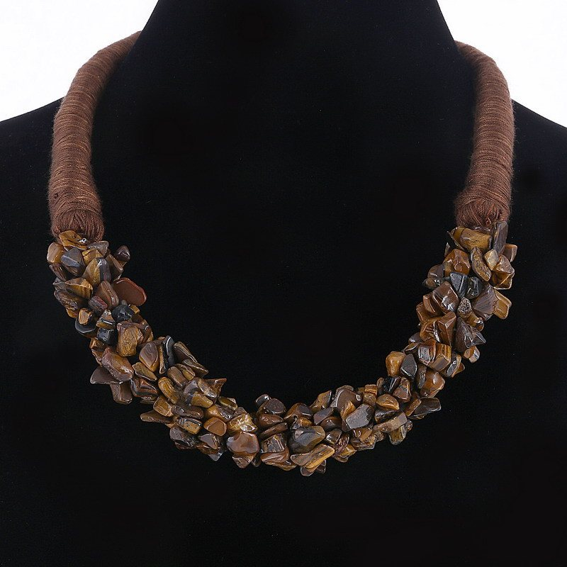 Natural Stone chips choker statement necklace - Stones and Sparkles