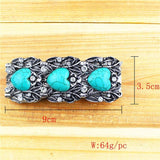 Natural Turquoise stone antique silver plated bracelet - Stones and Sparkles
