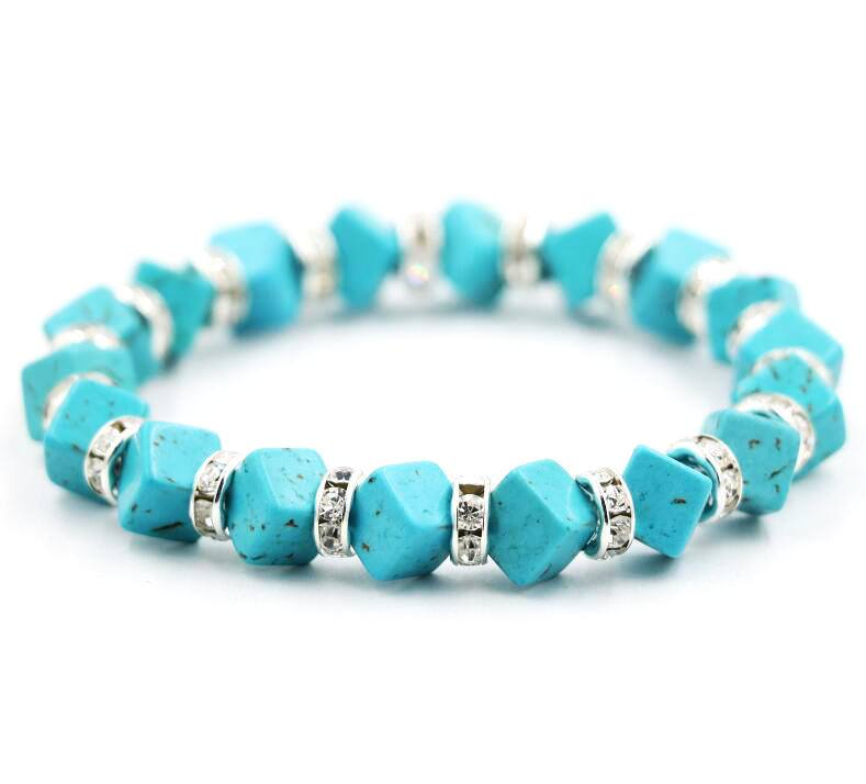 Natural turquoise cube bracelet