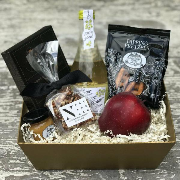 Nifty Package Co. Gourmet Gifts: Foody Snack Set with Organic Lemonade, Pretzels, Mustard, Coffee, and Fruit