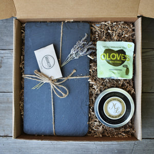 Nifty Package Co. Gourmet Gifts: Kraft Box Cheese Slate Set