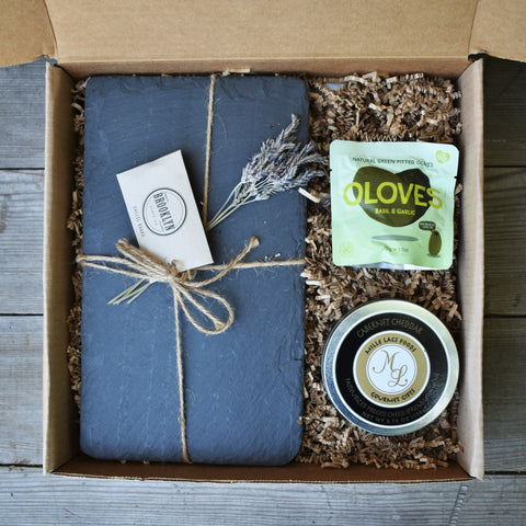 Gift 4 Option A - Kraft Box Cheese Slate Gift - Nifty Package Co