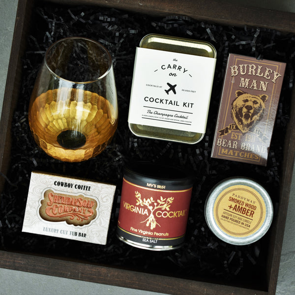 Nifty Package Co. Gourmet Gifts: Dad's Classic Treats, Candy, Cocktail Nuts, Matches, Soap