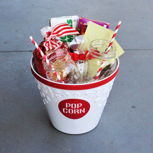 Gift 1 Option B - Movie Night Gift Basket and Popcorn Bowl - Nifty Package Co