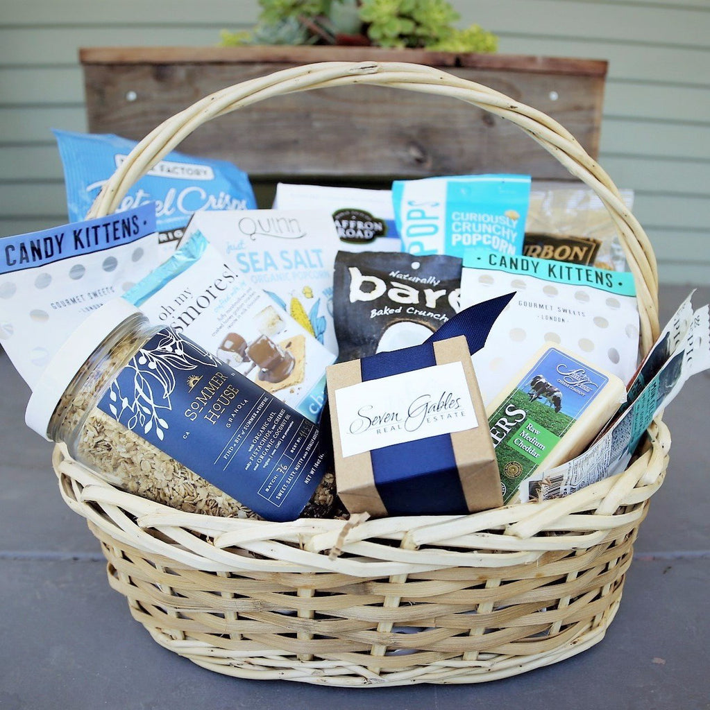 Gourmet Gifts: Tranquil Blue Branded Gift Basket