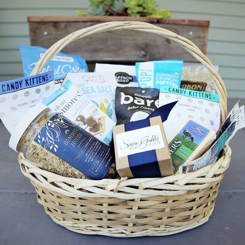 Tranquil Blue Branded Gourmet Gift Basket - Nifty Package Co