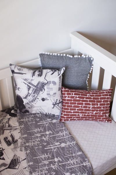 Urban Grey Grafitti Cot Quilt