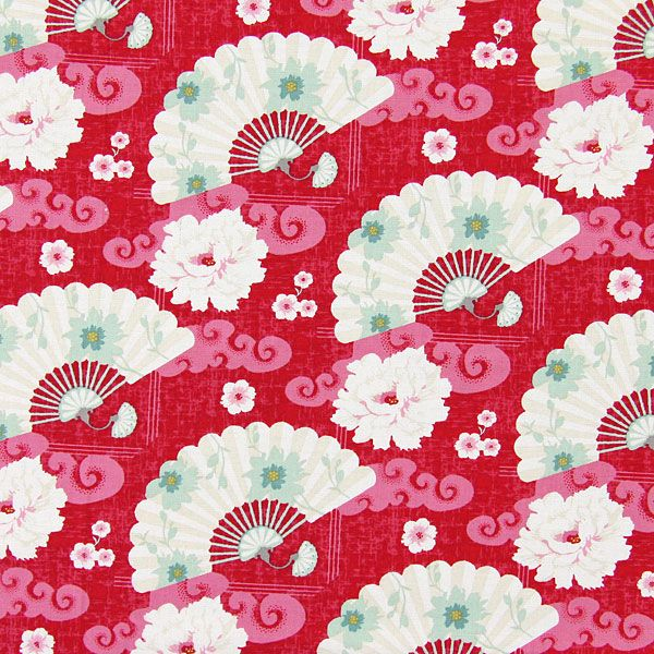 Tilda Fabric - Chinese Fans Red
