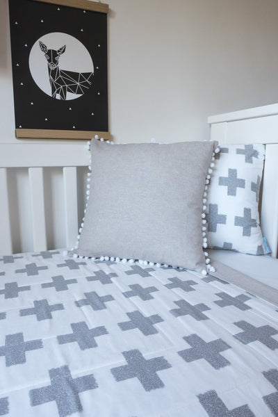 grey plus sign swiss cross cot quilt unisex