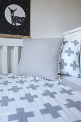 large grey plus sign swiss cross cot quilt unisex