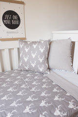 Grey Stag Cushion Cover