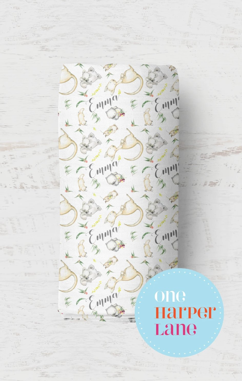 Personalised Stretchy Wrap or Quilted Blanket - Australian Animals Floral
