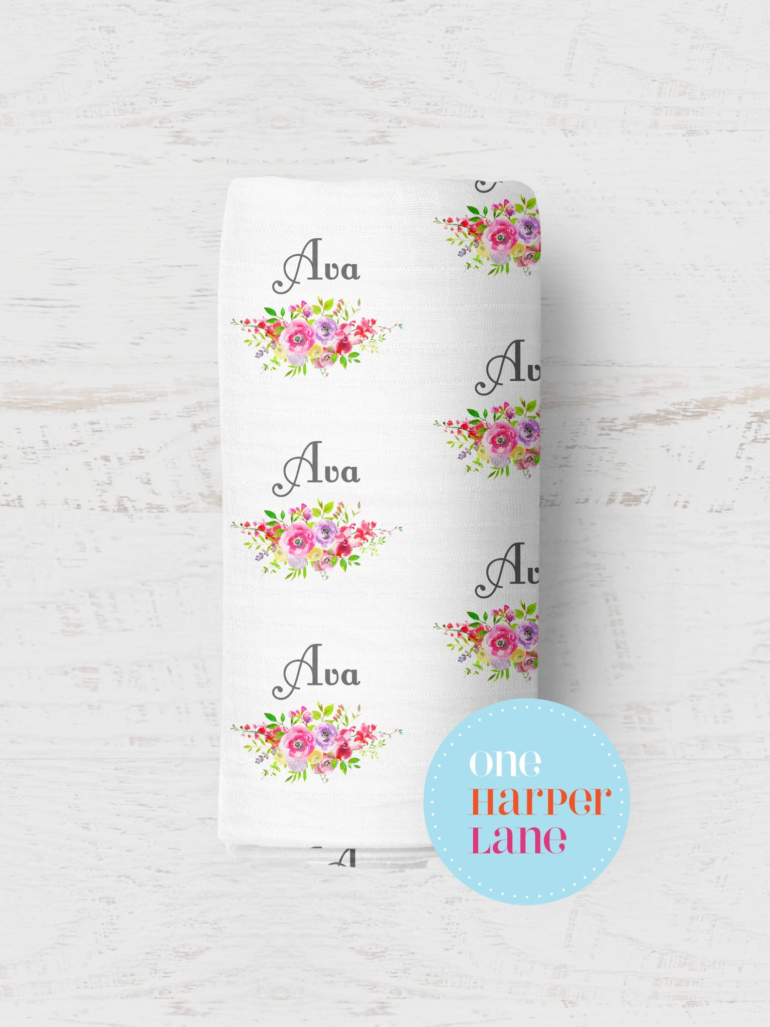 Personalised Wrap - Swan Floral