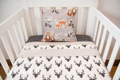 black stag cushion cover deer woodland