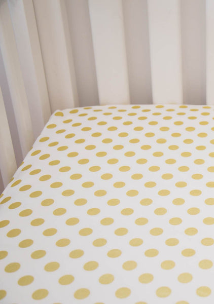 gold metallic spot fitted cot sheet