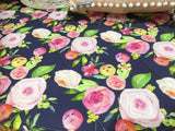Navy Floral Roses and Peony Round Play Mat - Pre Order
