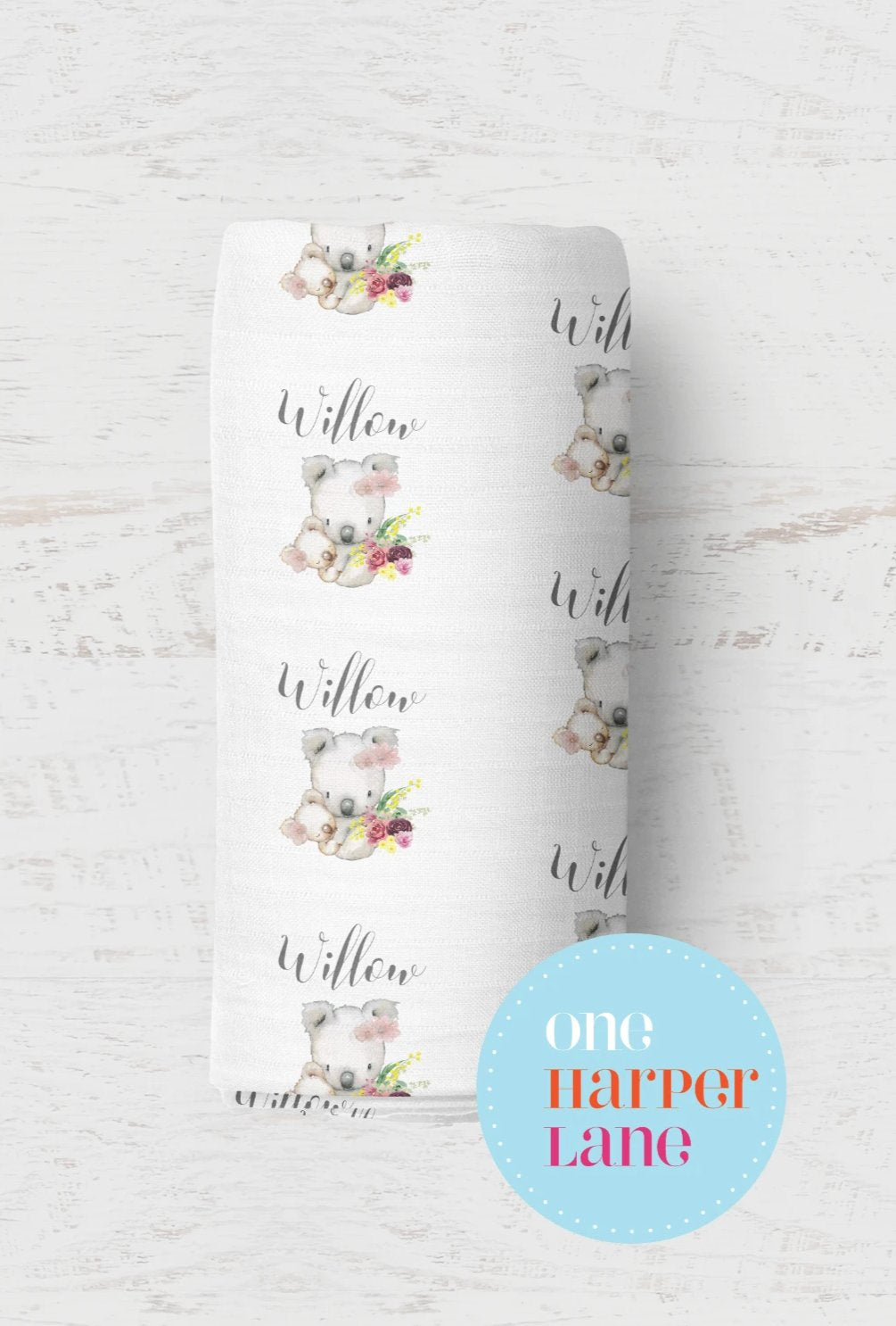 Personalised Stretchy Wrap - Koala Floral