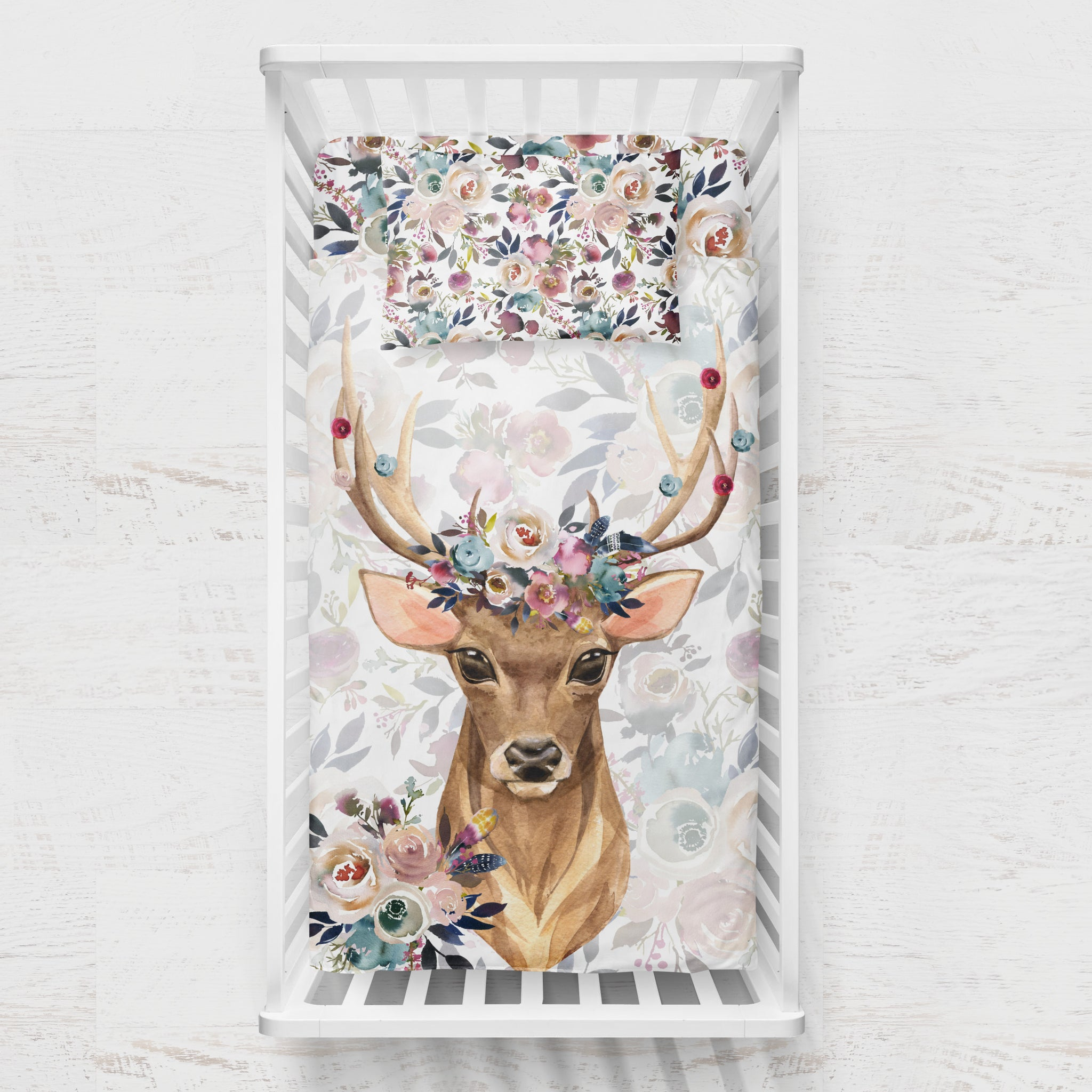 Delicate Stag - Dusty Blue and Pink