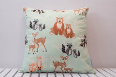 woodland mint cushion deer bear fox owl