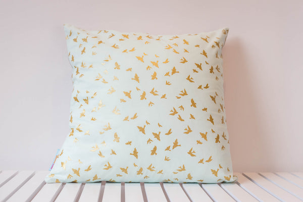 Mint and Gold Bird Cushion Cover