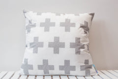 large grey plus sign swiss cross cushion unisex