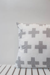 Grey Plus Sign Cross Cushion Cover