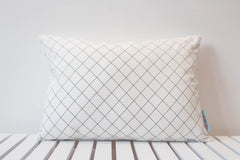 Black and White Lattice Small Rectangle Cushion